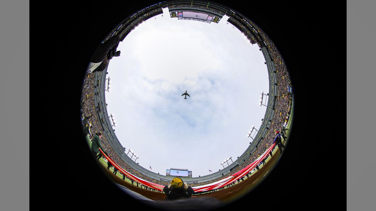 A flyover during the National Anthem before a NFL football game against the Green Bay Packers on Sunday, Dec. 30, 2018 in Green Bay, Wisc.