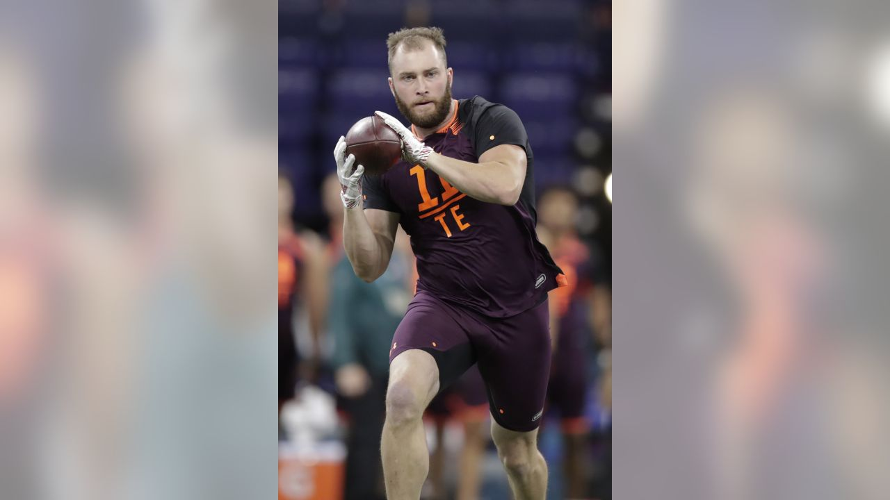 Georgia tight end Isaac Nauta runs a drill at the NFL football scouting combine in Indianapolis, Saturday, March 2, 2019. (AP Photo/Michael Conroy)