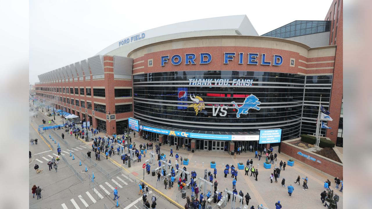 Exterior view of Ford Field's Gate A before a NFL football game against the Minnesota Vikings on Sunday, Dec. 23, 2018 in Detroit. (Detroit Lions via AP).