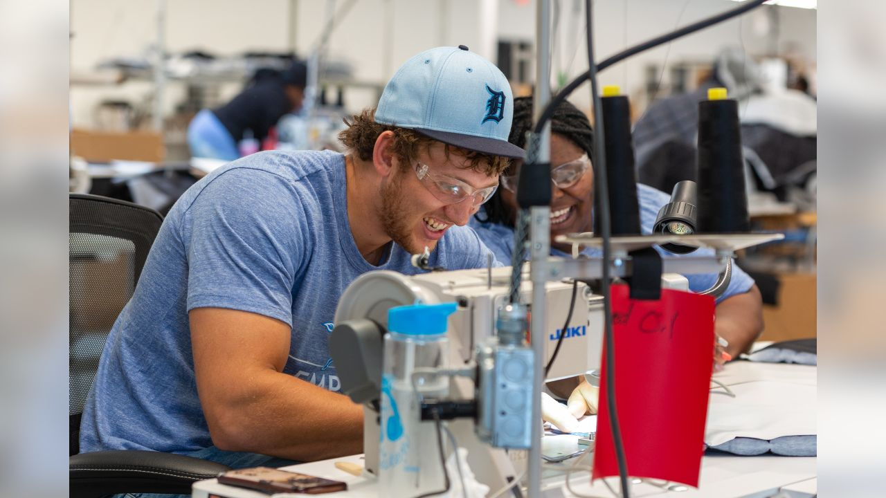 T.J. Hockenson visits the Empowerment Plan Plant on Tuesday, June 18, 2019 in Detroit