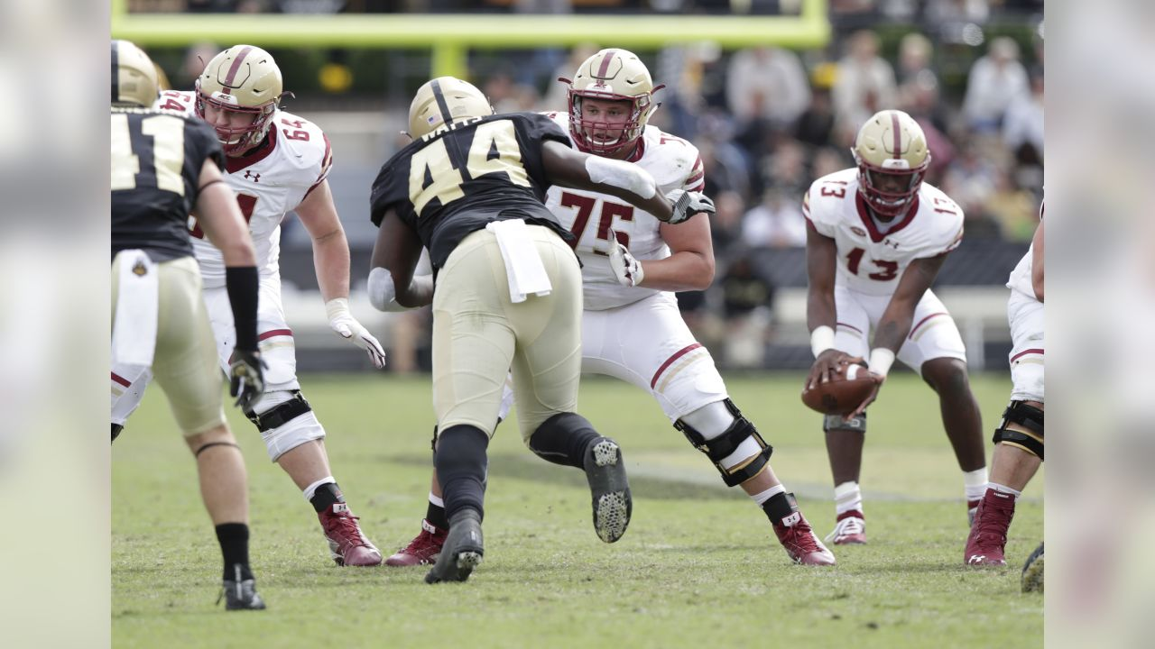 Boston College offensive lineman Chris Lindstrom (75) blocks Purdue defensive tackle Anthony Watts (44) during the second half of an NCAA college football game in West Lafayette, Ind., Saturday, Sept. 22, 2018. Purdue defeated Boston College 30-13. (AP Photo/Michael Conroy)