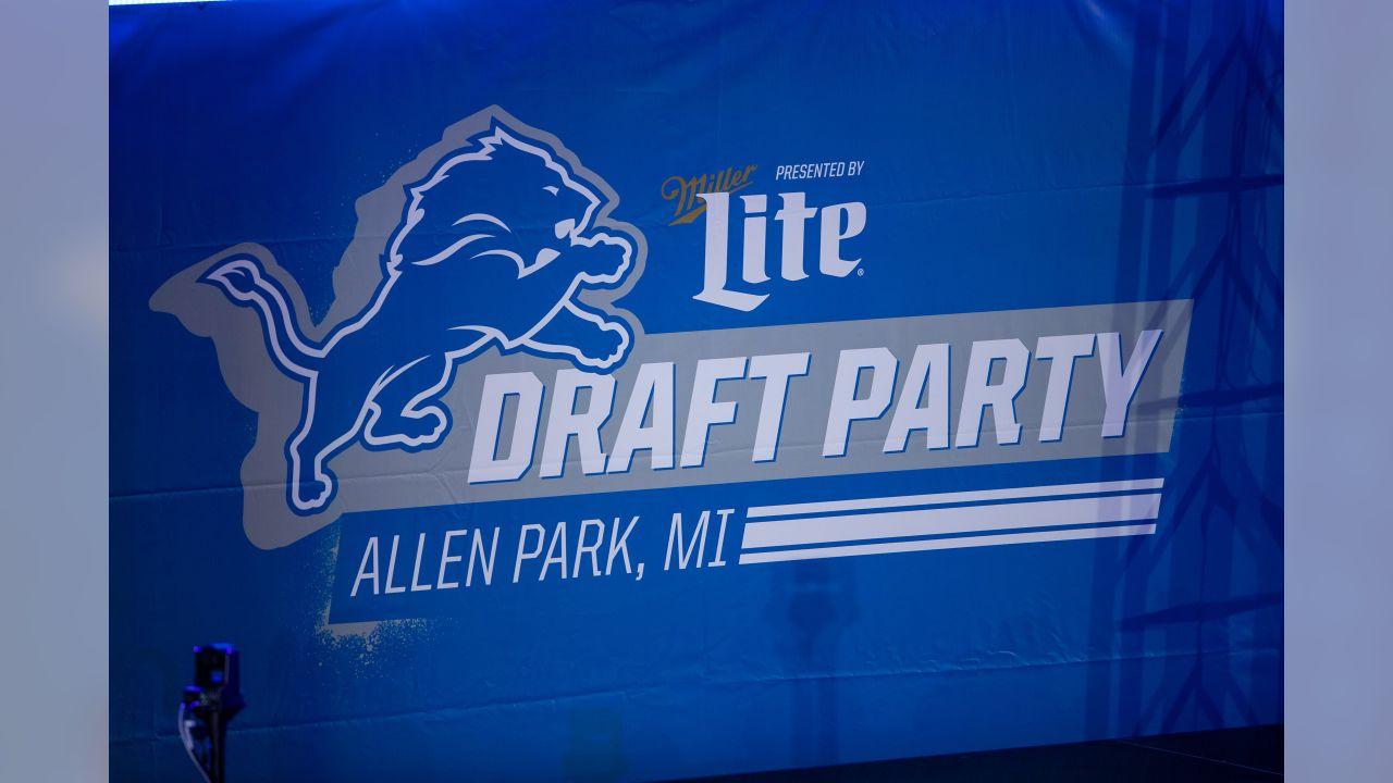 Miller Lite Detroit Lions draft party on Thursday, April 25, 2019 in Allen Park, Mich. (Detroit Lions via AP)