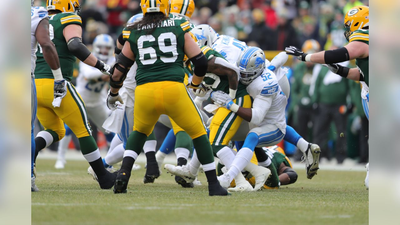 Detroit Lions linebacker Christian Jones (52) during a NFL football game against the Green Bay Packers on Sunday, Dec. 30, 2018 in Green Bay, Wisc. (Detroit Lions via AP).