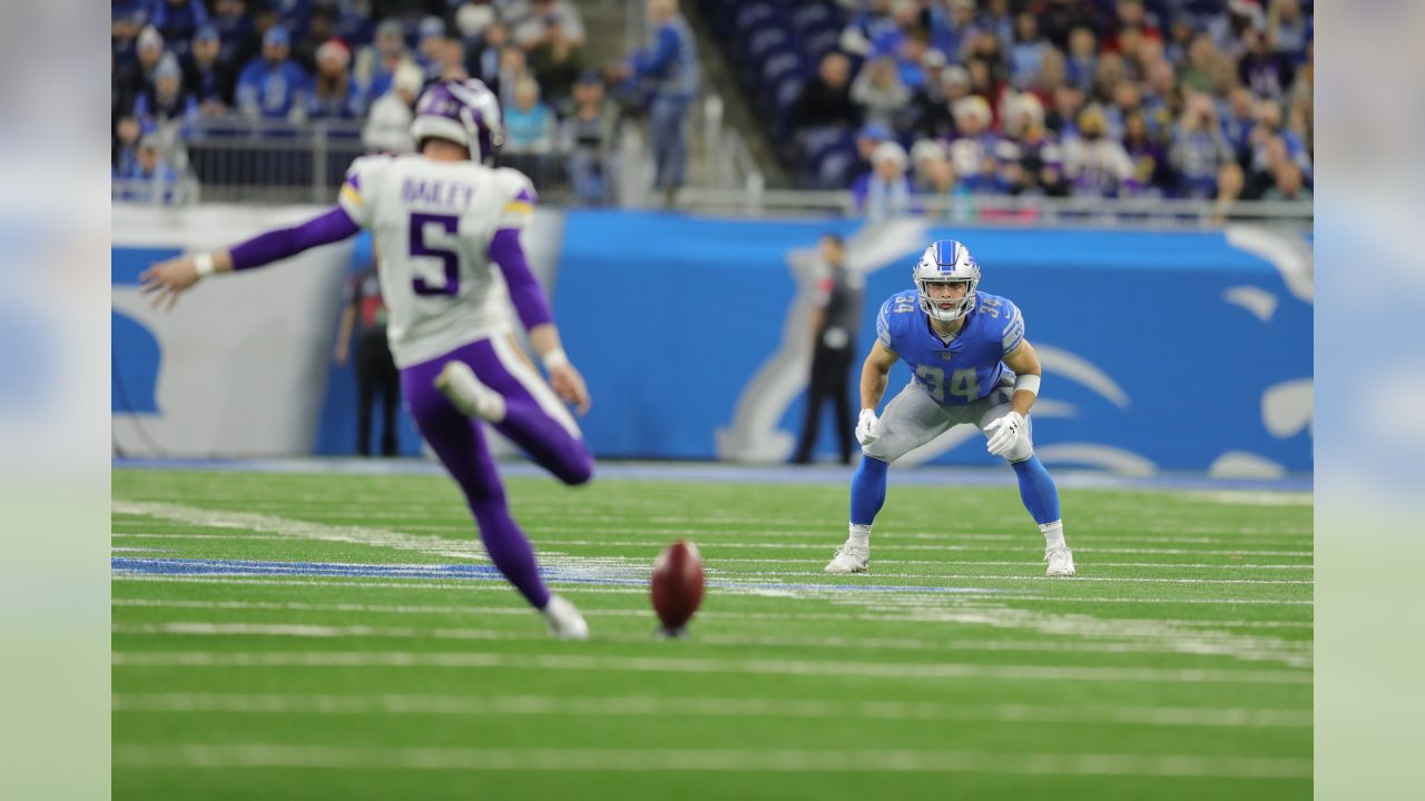 Detroit Lions running back Zach Zenner (34) on special teams during a NFL football game against the Minnesota Vikings on Sunday, Dec. 23, 2018 in Detroit. (Detroit Lions via AP).
