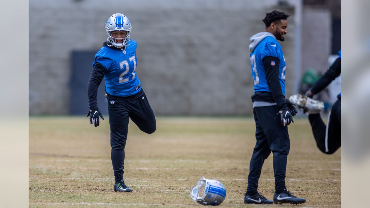 Detroit Lions safety Glover Quin (27) during practice at the Detroit Lions training facility on Friday, Dec. 28, 2018 in Allen Park, Mich. (Detroit Lions via AP)