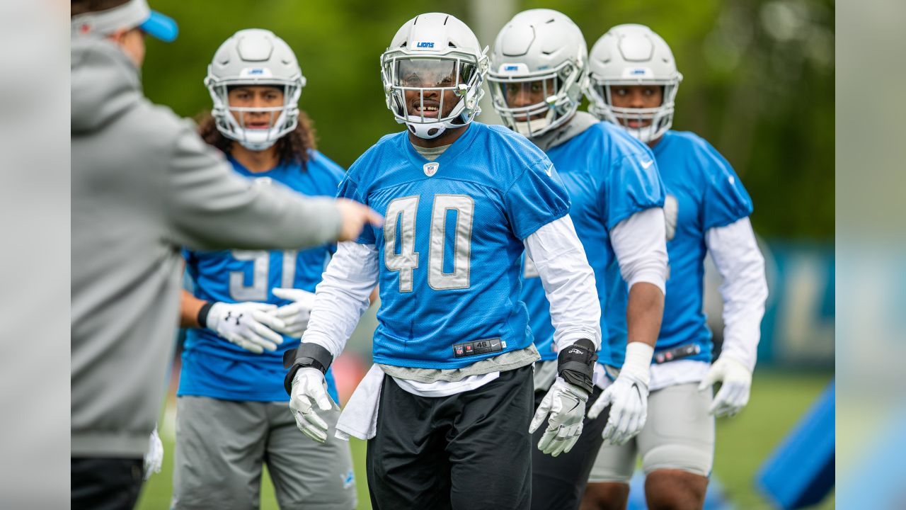 Detroit Lions linebacker Jarrad Davis (40) during Day 1 of OTAs on Monday, May 20, 2019 in Allen Park, Mich. (Detroit Lions via AP)
