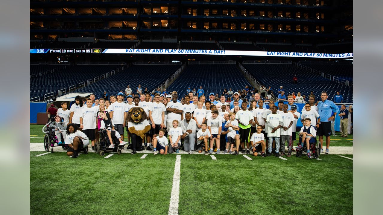 Participants from special olympics Michigan at the blue cross blue shield of michigan play like a lion clinic before a NFL football game against the New York Giants on Friday, Aug. 17, 2018 in Detroit. (Detroit Lions via AP).