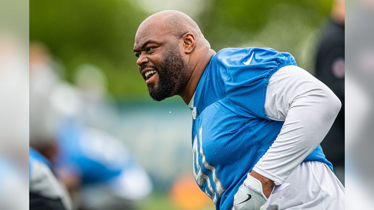 Detroit Lions defensive tackle A'Shawn Robinson (91) smiles during Day 1 of OTAs on Monday, May 20, 2019 in Allen Park, Mich. (Detroit Lions via AP)