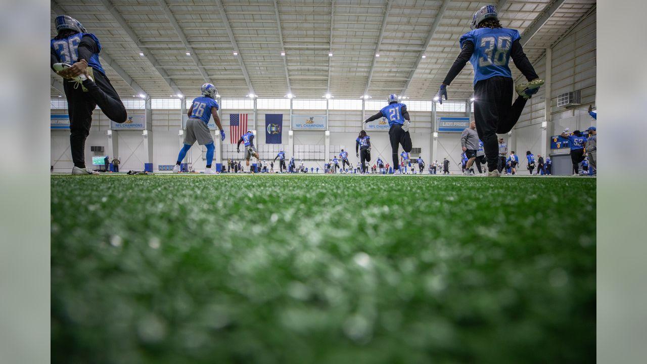 Detroit Lions stretch before practice at the Detroit Lions training facility on Thursday, Nov. 29, 2018 in Allen Park, Mich. (Detroit Lions via AP)