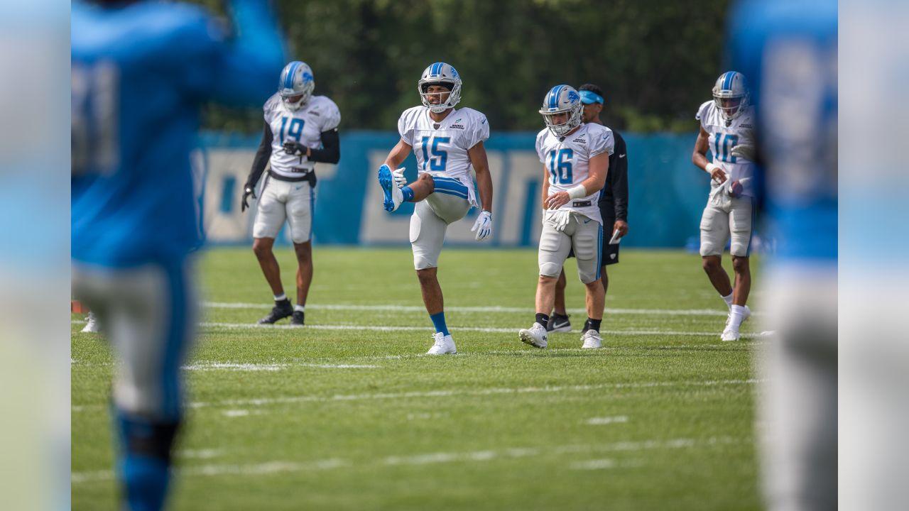 Detroit Lions wide receiver Golden Tate (15) stretches before practice at the Detroit Lions training facility on Monday, Aug. 27, 2018 in Allen Park, Mich. (Detroit Lions via AP)