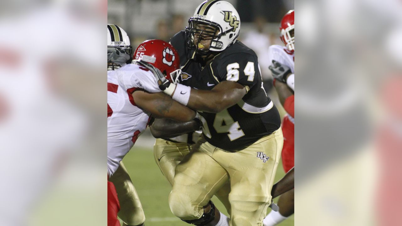 Central Florida offensive linesman Justin McCray (64) during an NCAA college football game in Orlando, Fla., Saturday, Sept. 4, 2010. Central Florida defeated South Dakota  38-7. (AP Photo/Reinhold Matay)