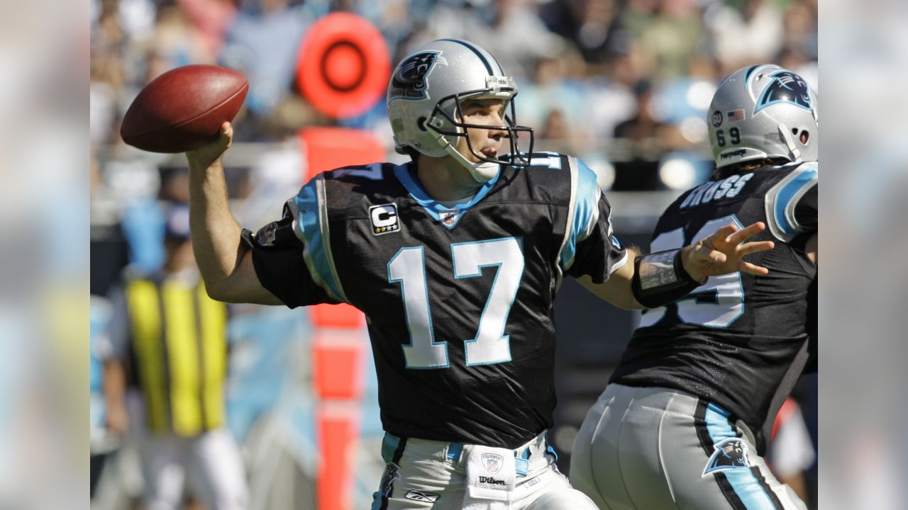 Carolina Panthers quarterback Jake Delhomme (17) prepares to throw a pass during an NFL football game in Charlotte, N.C., Sunday, Oct. 26, 2008. (AP Photo/Chuck Burton)