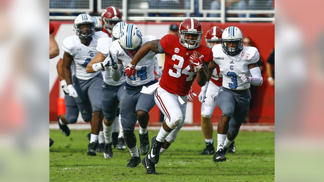 Alabama running back Damien Harris (34) carries the ball against Citadel during the second half of an NCAA college football game, Saturday, Nov. 17, 2018, in Tuscaloosa, Ala.