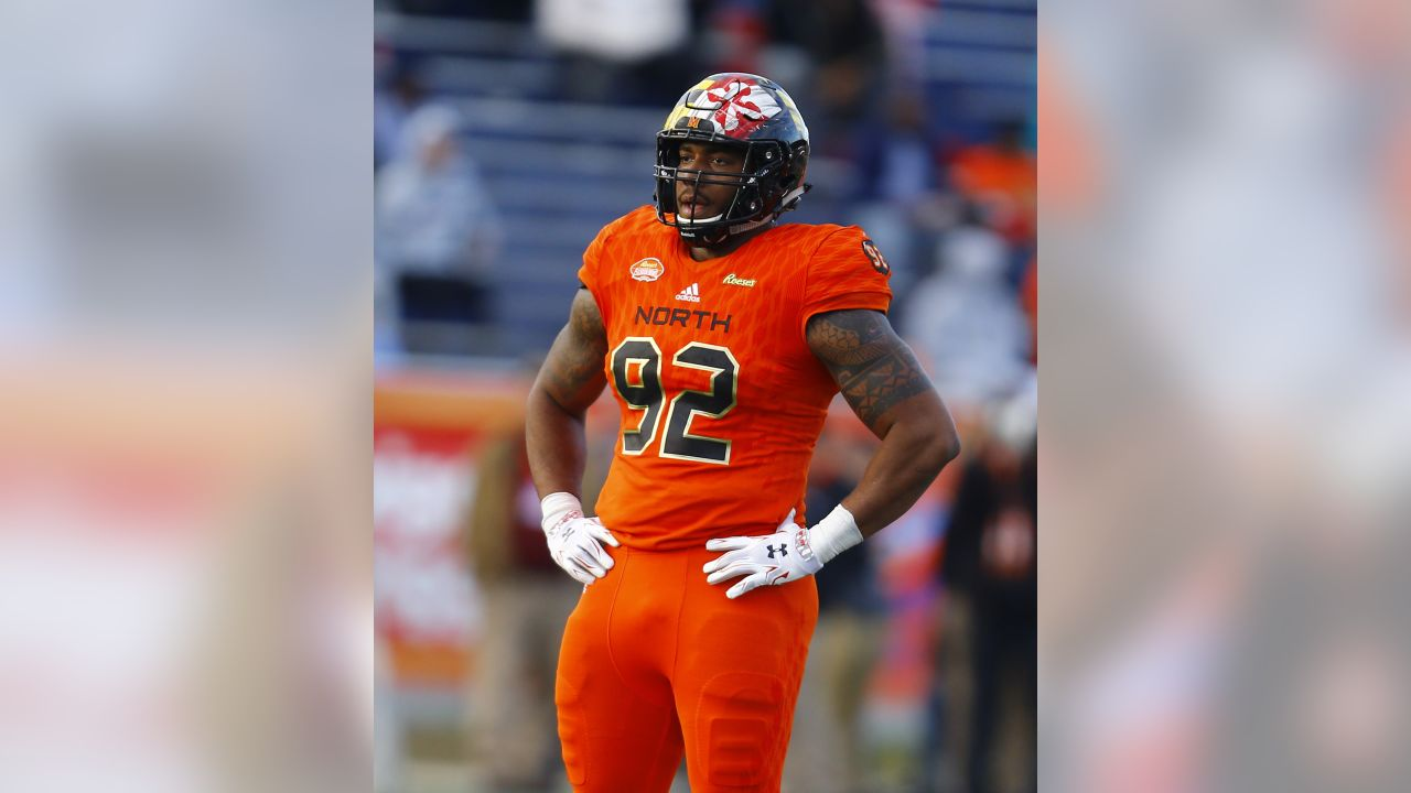 North defensive end Byron Cowart of Maryland (92) during the second half of the Senior Bowl college football game, Saturday, Jan. 26, 2019, in Mobile, Ala.