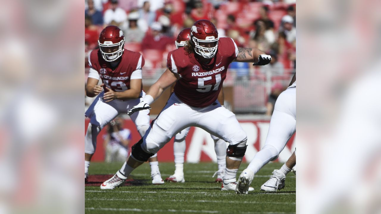 Arkansas offensive lineman Hjalte Froholdt gets ready to run a play against Tulsa in the first half of an NCAA college football game Saturday, Oct. 20, 2018, in Fayetteville, Ark.
