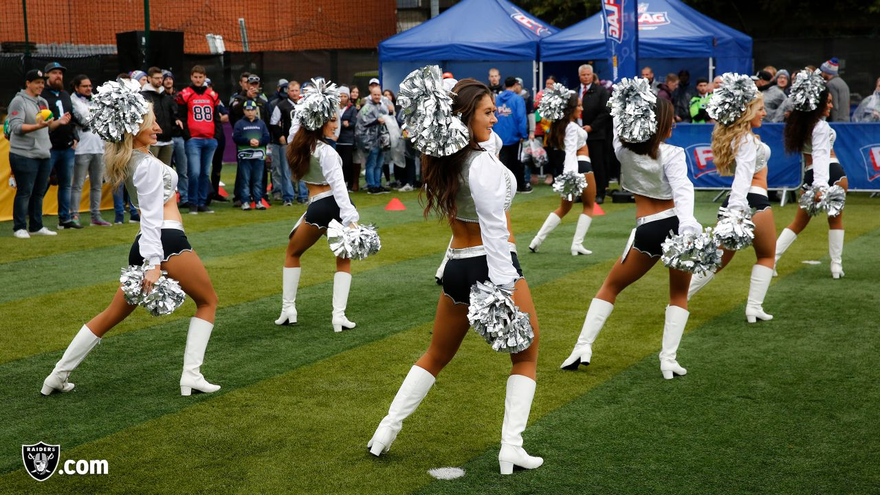 The Raiderettes tour London before the Oakland Raiders game against the Seattle Seahawks at Wembley Stadium, Sunday, October 14, 2018, in London, England. The Oakland Raiders lost 27-3.