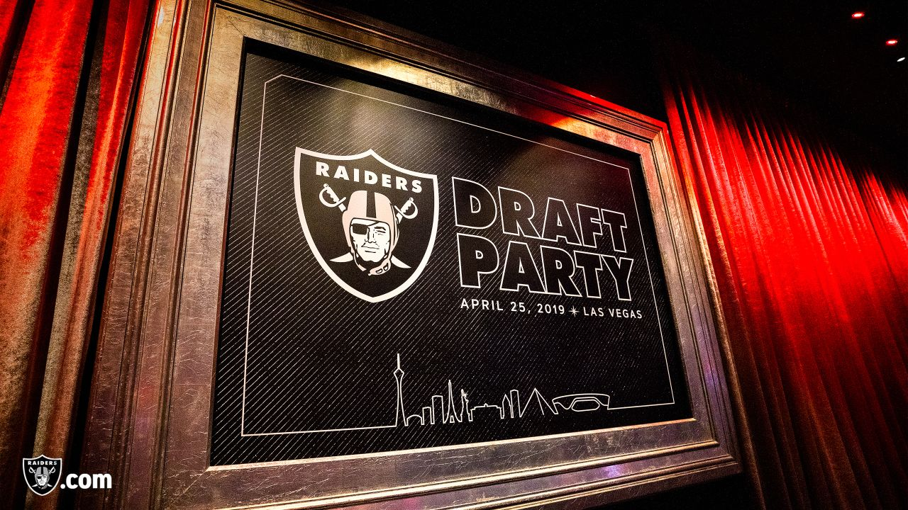 Raiders players, alumni and fans enjoy a draft party on Day 1 of the 2019 NFL Draft at Drai's in Las Vegas, Nev.