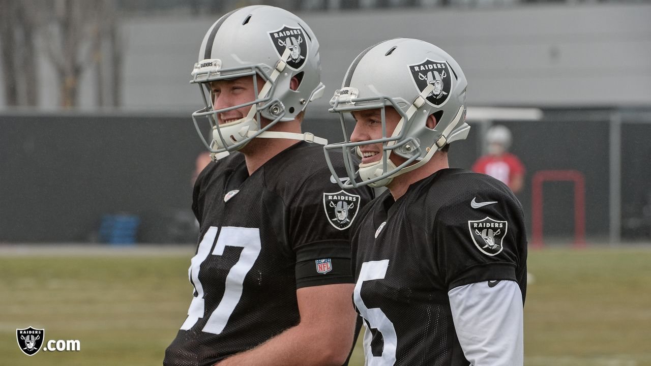 Oakland Raiders long snapper Trent Sieg (47) and punter Johnny Townsend (5) on the field for practice at the Oakland Raiders Practice Facility, Friday, December 21, 2018, in Alameda, California.