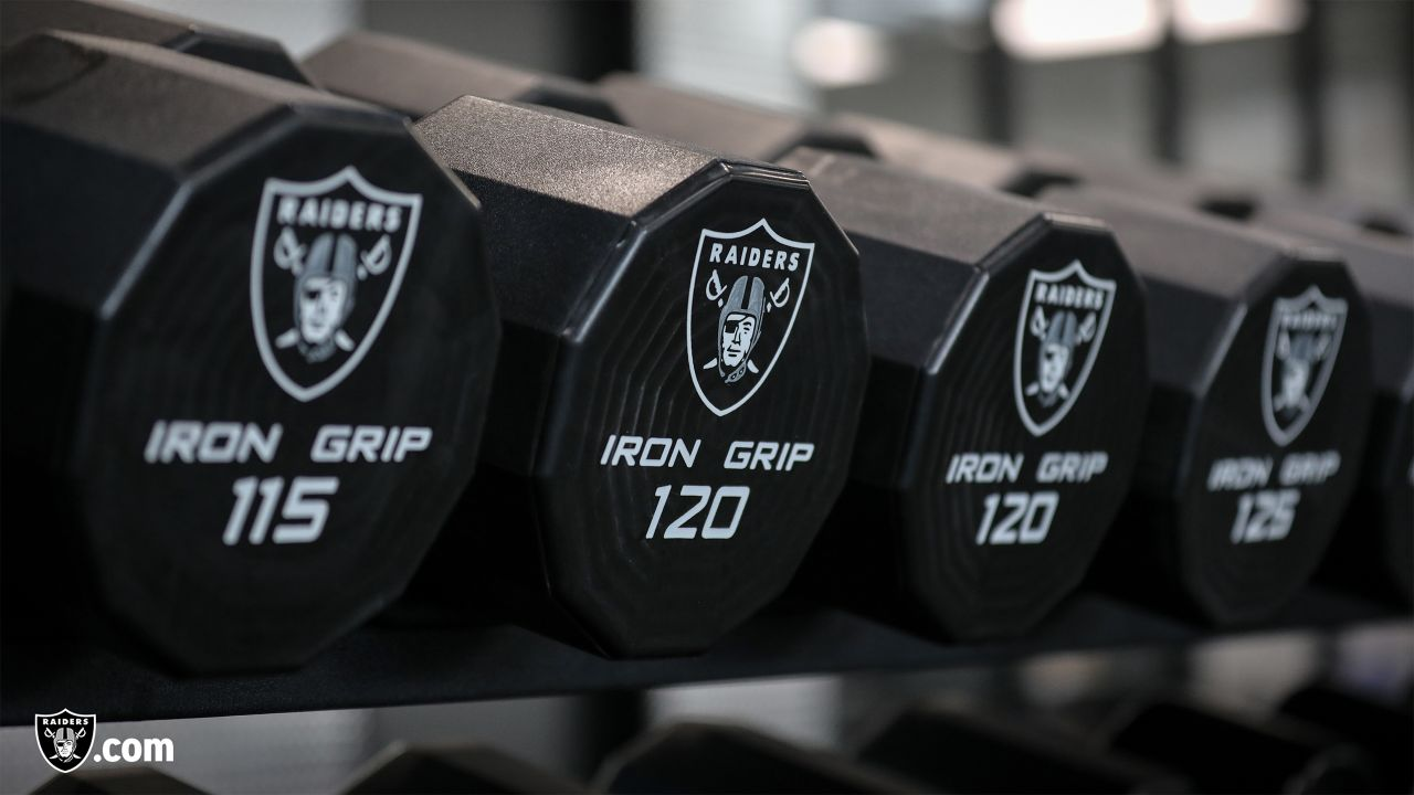 Free weights at a workout during phase one of the offseason program at the Raiders Practice Facility in Alameda, Calif.