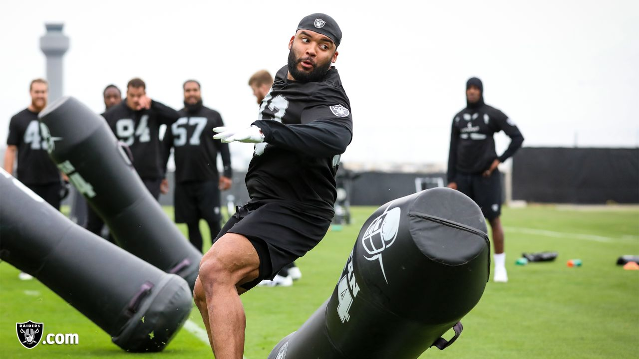 Raiders defensive end Alex Barrett (93) at a workout during phase two of the offseason program at the Raiders Practice Facility in Alameda, Calif.