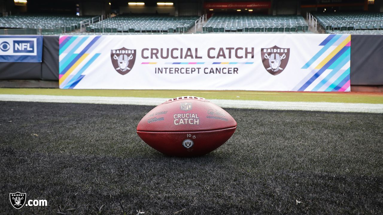 An Oakland Raiders helmet with Crucial Catch banner before The Oakland Raiders regular season game against the Indianapolis Colts at Oakland-Alameda County Coliseum, Sunday, October 28, 2018, in Oakland, California. The Oakland Raiders lost 42-28.