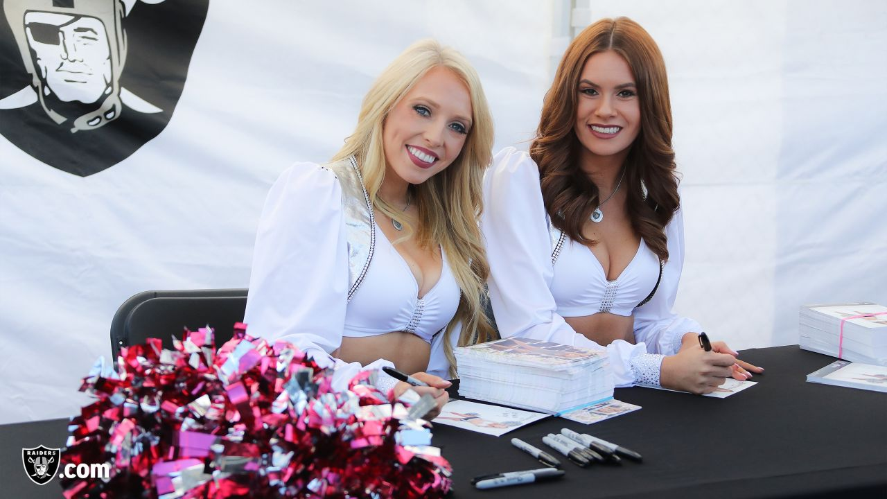 The Raiderettes greet fans at Raiderville before the Oakland Raiders game against the Indianapolis Colts at Oakland-Alameda County Coliseum, Sunday, October 28, 2018, in Oakland, California. The Oakland Raiders lost 42-28.