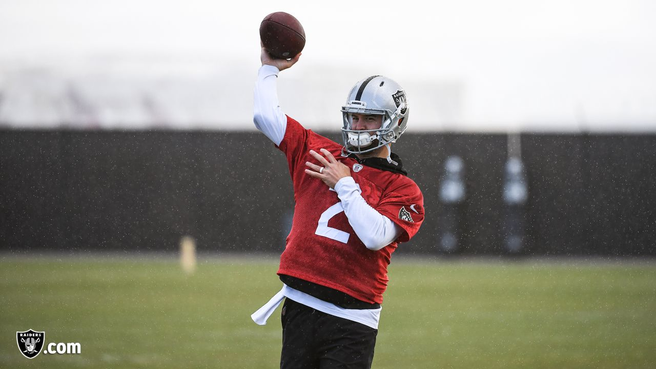 Oakland Raiders quarterback AJ McCarron (2) on the field for practice at the Oakland Raiders Practice Facility, Thursday, November 22, 2018, in Alameda, California.