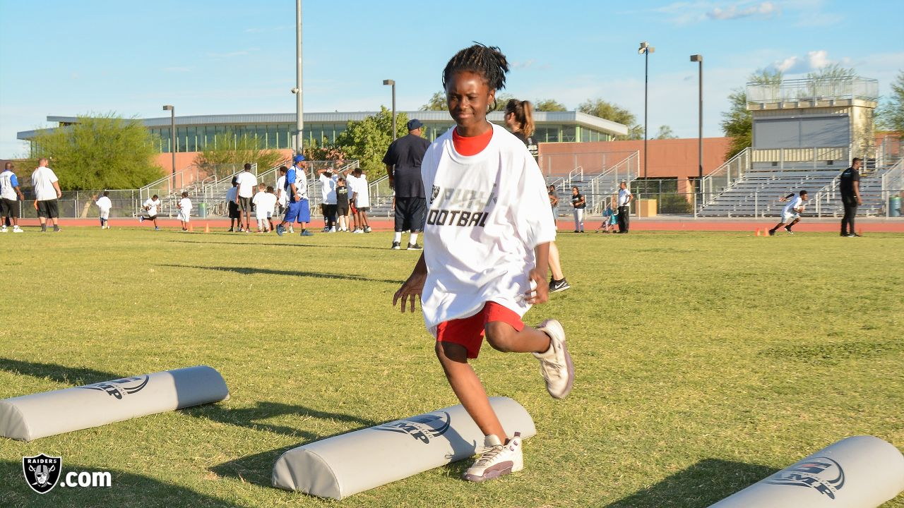 The Raiders host a Gatorade Junior Training Camp, a grassroots football clinic, for athletes from the Southern Nevada Youth Sports Association at Pearson Community Center in North Las Vegas, Nev.