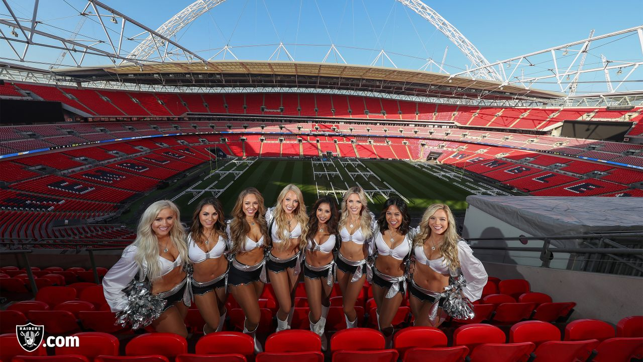 The Raiderettes visit Wembley Stadium.