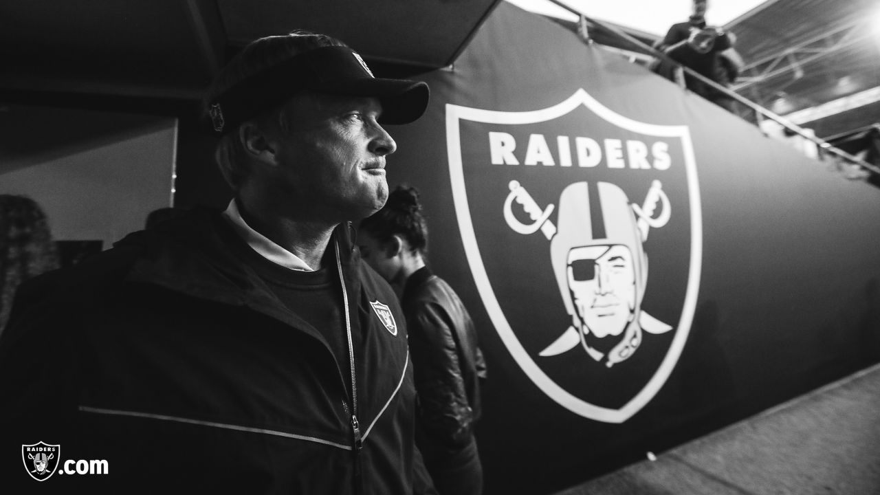 Oakland Raiders head coach Jon Gruden before the Oakland Raiders regular season game against the Seattle Seahawks at Wembley stadium on October 14th, 2018, in London, United Kingdom. The Oakland Raiders lost 27-3.