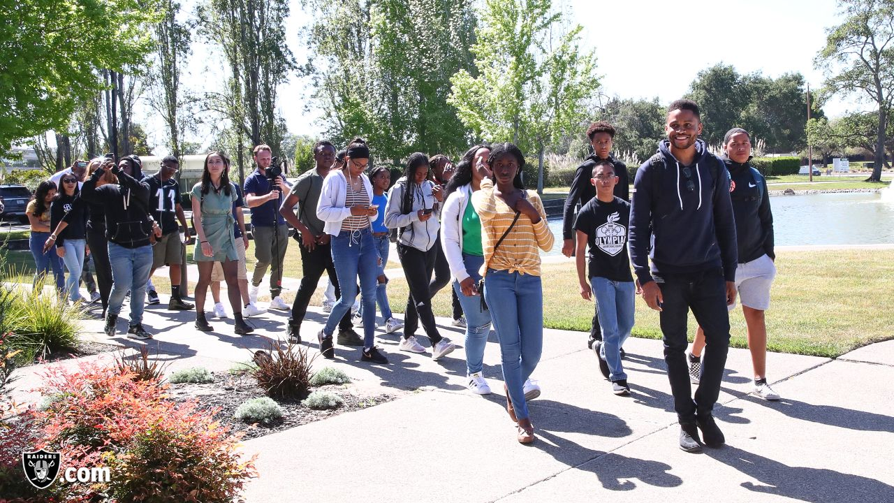 Oakland Raiders alumnus Nnamdi Asomugha hosts high school students at the Oakland Raiders Practice Facility to get an exclusive look at the team, Wednesday, April 24, 2019, in Alameda, Calif.