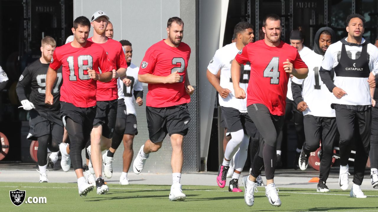 Raiders players and coaches hit the practice field in Alameda, Calif. for their offseason workouts.