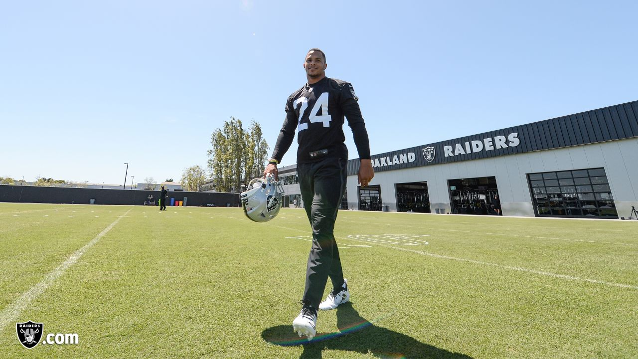 Oakland Raiders safety Johnathan Abram (24) at day two of 2019 Rookie Minicamp at the Oakland Raiders Practice Facility, Saturday, May 4, 2019, in Alameda, Calif.