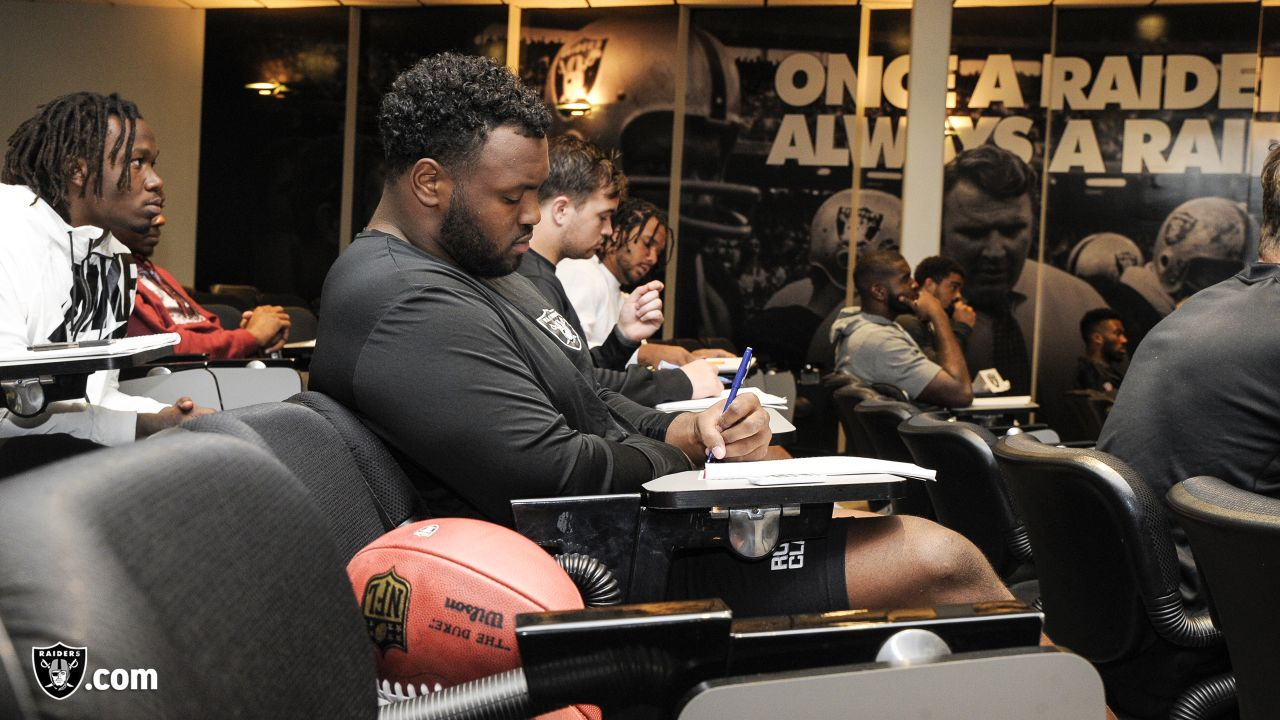 Oakland Raiders rookies listen to speakers Lincoln Kennedy, Robert Gallery, Darren McFadden, Greg Townsend, and Cliff Branch, Oakland Raiders alumni, as part of Rookie Academy, at the Oakland Raiders Practice Facility, Monday, June 18, 2018, in Alameda, California.