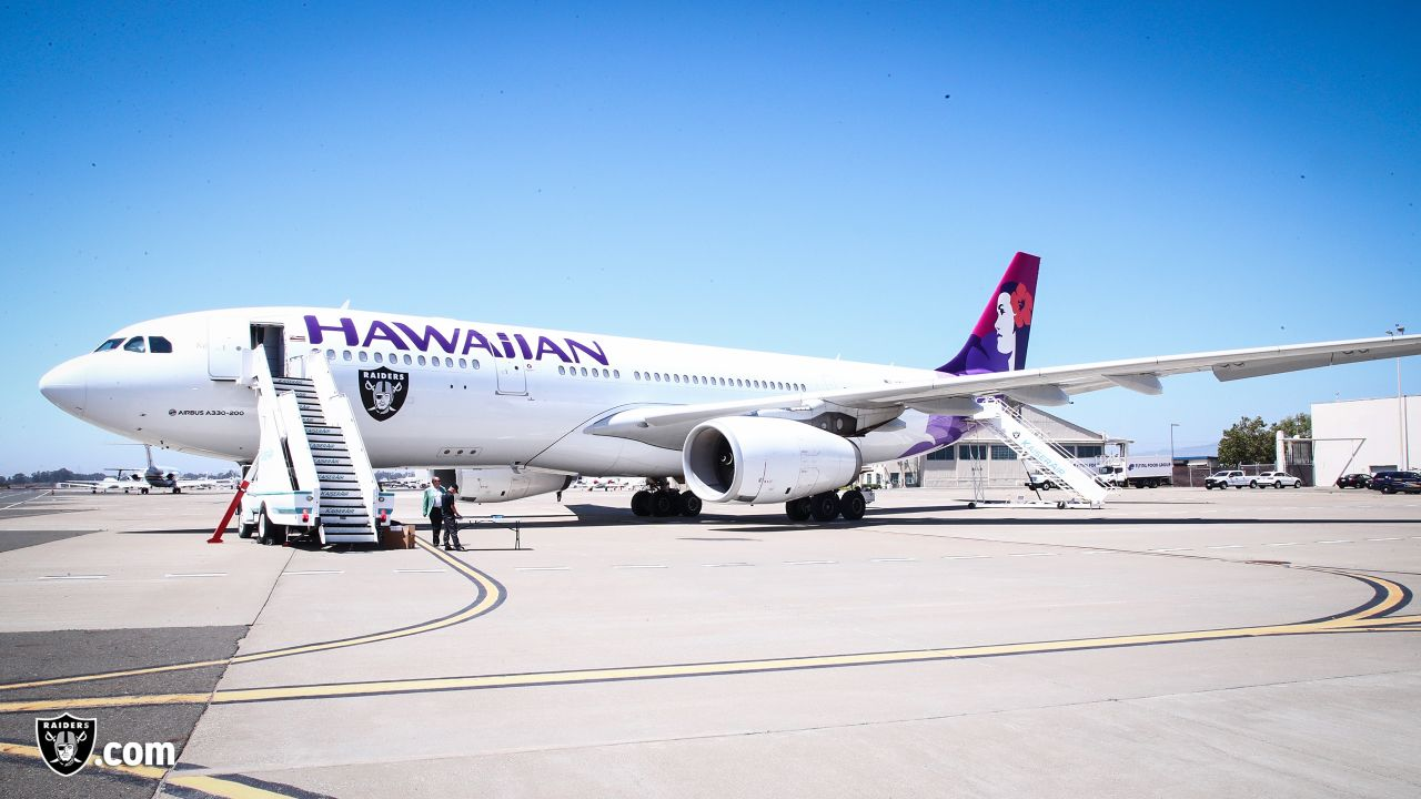 The Oakland Raiders depart for their game against the Los Angeles Rams, Friday, August 17, 2018, in Oakland, California.