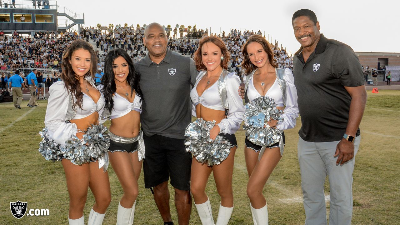 Oakland Raiders alumni and the Raiderettes visit Foothill High School to celebrate the kickoff of the Clark County School District high school 2018 football season, Friday, August 31, 2018, in Henderson, Nevada.