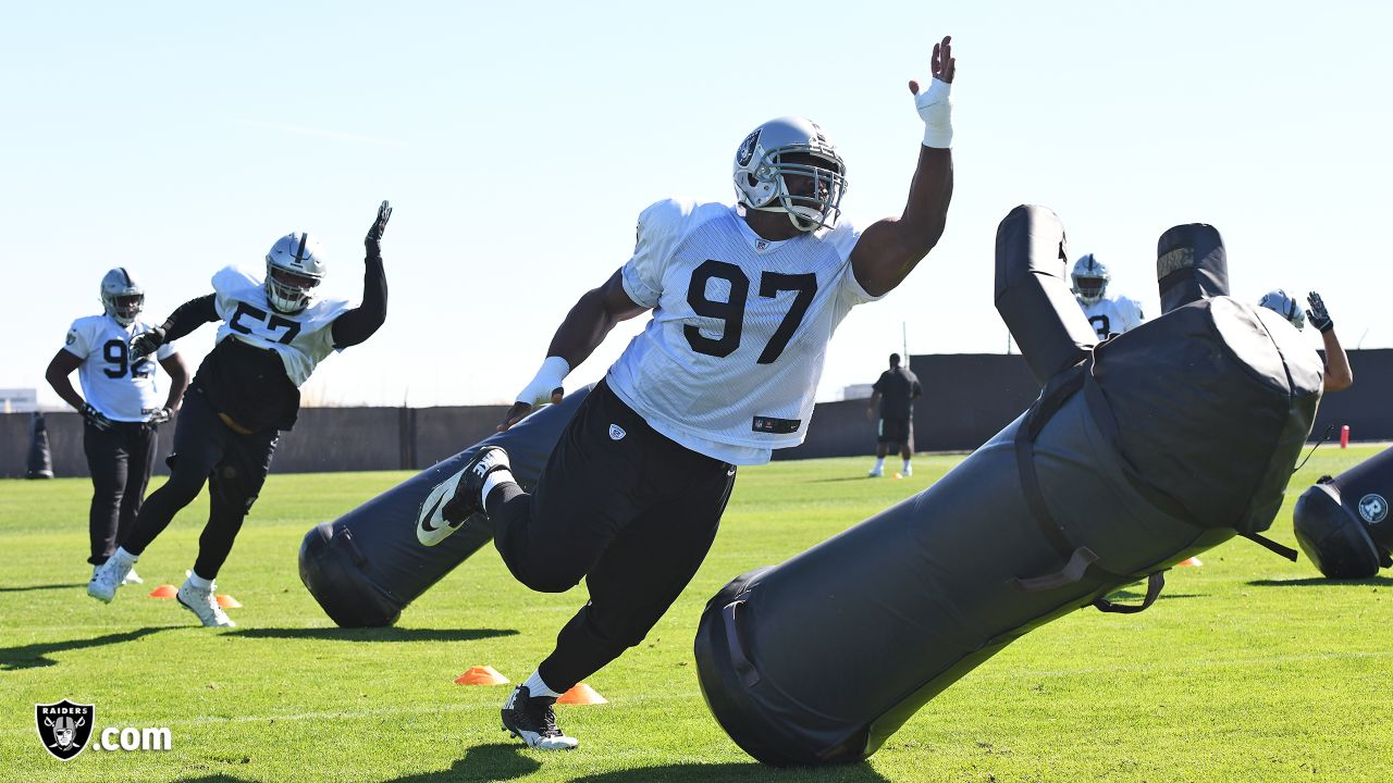 Oakland Raiders defensive tackle Clinton McDonald (97) on the field for practice at The Oakland Raiders Practice Facility, Wednesday, October 24, 2018, in Alameda, California.
