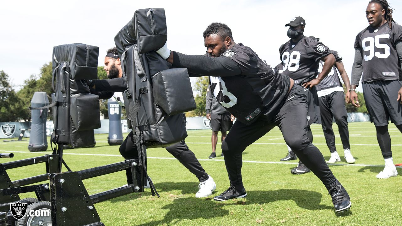Oakland Raiders defensive tackle Maurice Hurst (73) on the field for practice at the Oakland Raiders Practice Facility, Wednesday, September 12, 2018, in Alameda, California.