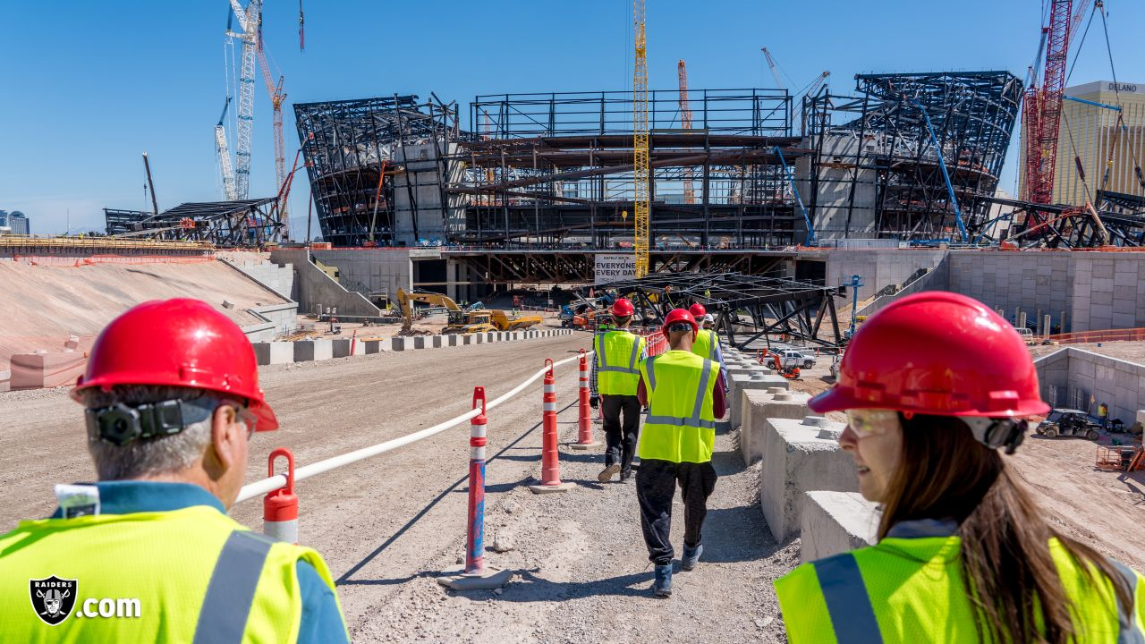 The Raiders Foundation, in partnership with Kline Veterans Fund, give three veterans a tour of the Las Vegas Stadium worksite before being surprised with their very own service dog, Wednesday, June 26, 2019, in Las Vegas, Nevada.