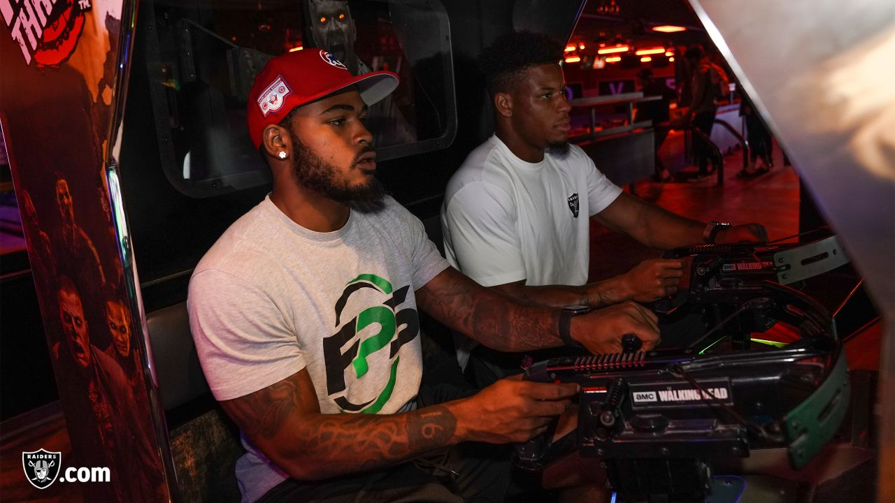 Oakland Raiders rookies enjoy a Rookie Activity, as part of Rookie Academy, at AMF Southshore Lanes, Thursday, June 20, 2019, in Alameda, Calif.