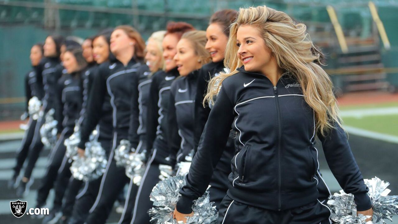 The Raiderettes warm up on the field before the Oakland Raiders game against the Pittsburgh Steelers at Oakland-Alameda County Coliseum, Sunday, December 9, 2018, in Oakland, California. The Oakland Raiders won 24-21.