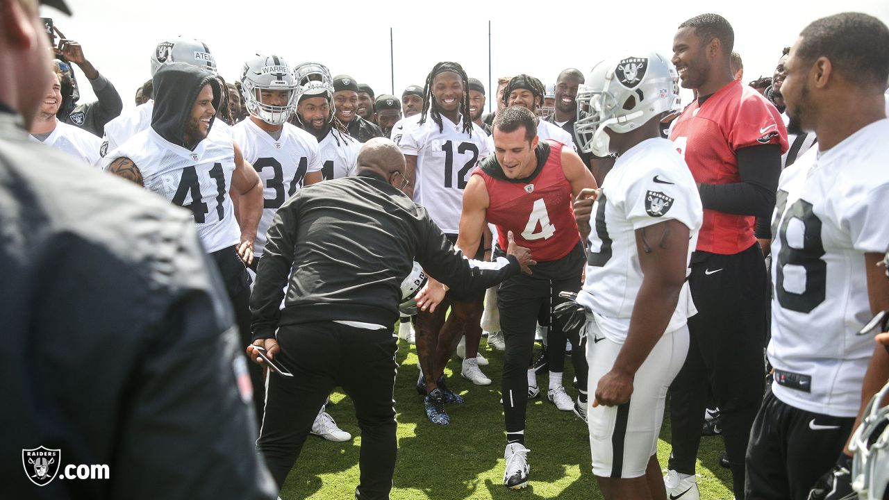 Hip-hop artist MC Hammer visits Oakland Raiders players at an Organized Team Activity (OTA) at the Oakland Raiders Practice Facility, Wednesday, June 6, 2018, in Alameda, California.