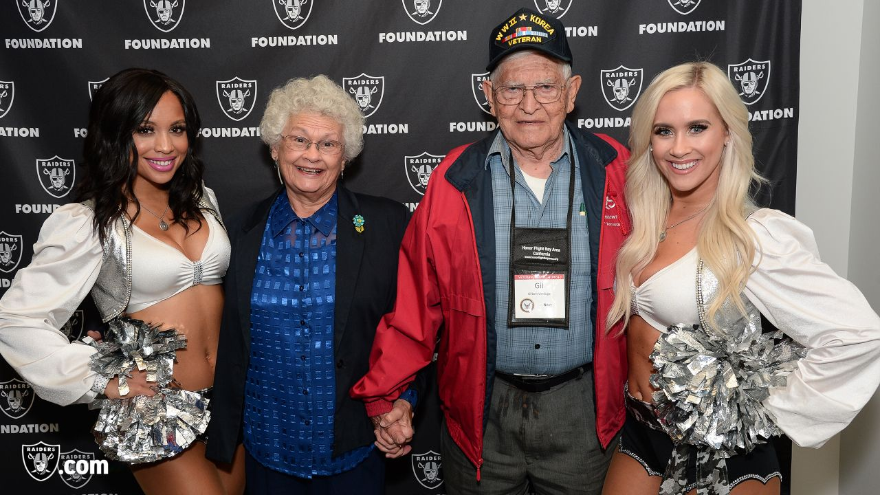 The Raiders Foundation, in partnership with Honor Flight Bay Area, hosts a Salute to Service dinner at the Oakland Raiders Practice Facility for 50 veterans and their guests, Tuesday, November 6, 2018, in Alameda, California. Representing the Raiders are offensive lineman Ian Silberman, kicker Daniel Carlson, linebacker Kyle Wilber, long snapper Andrew DePaola, defensive tackle Clinton McDonald, fullback Ryan Yurachek, punter Johnny Townsend, and alumni Jerry Robinson and Art Thoms.