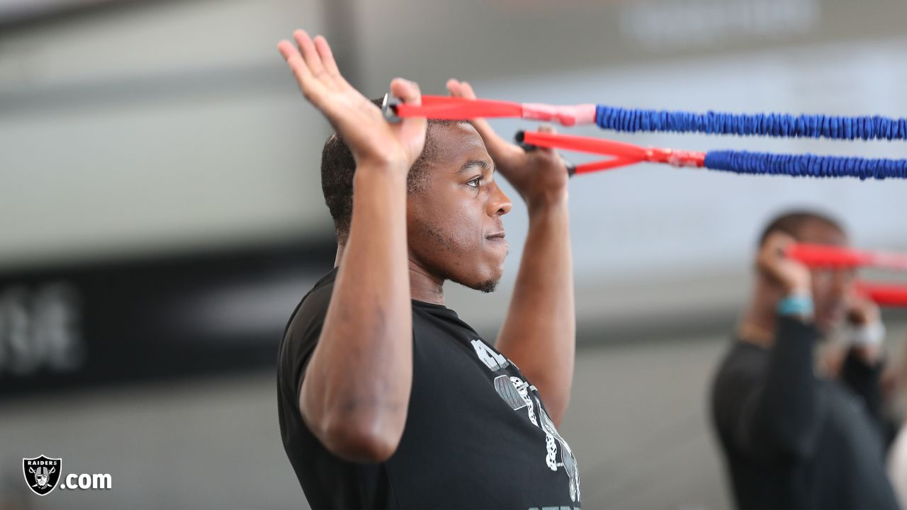 Raiders safety Jordan Richards at a workout during phase one of the offseason program at the Raiders Practice Facility in Alameda, Calif.
