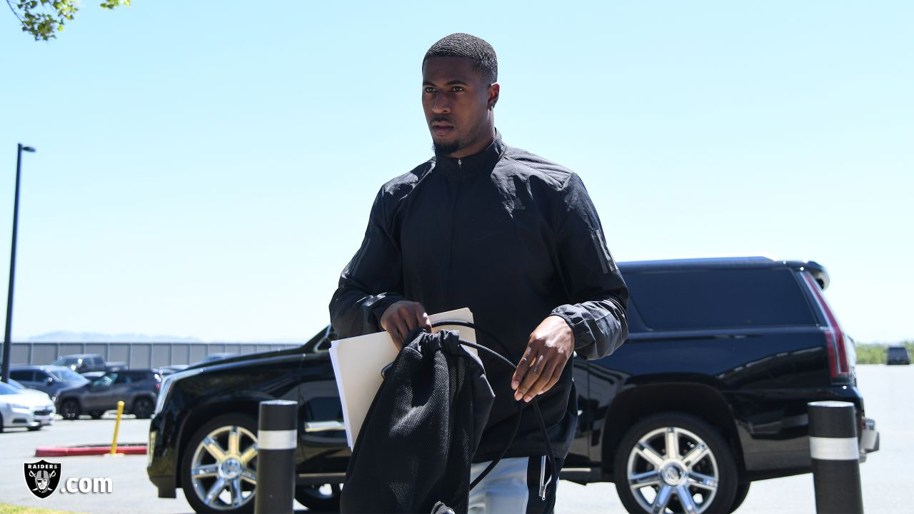 Raiders cornerback Isaiah Johnson arrives to the Raiders Practice Facility before the start of Rookie Minicamp in Alameda, Calif.