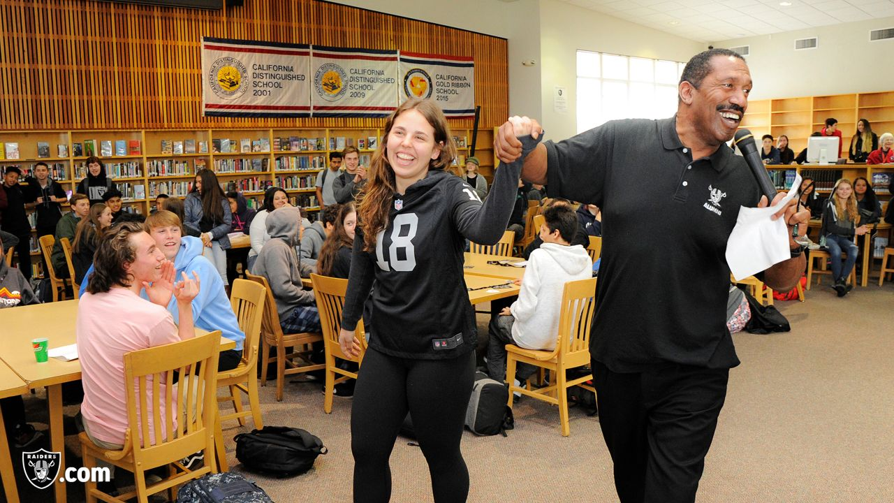 As part of the Bay Area All-Star Scholarship Team, the Oakland Raiders surprise their 2018 recipient, Lily Krauss with a college scholarship at El Molino High School, Tuesday, March, 13, 2018.