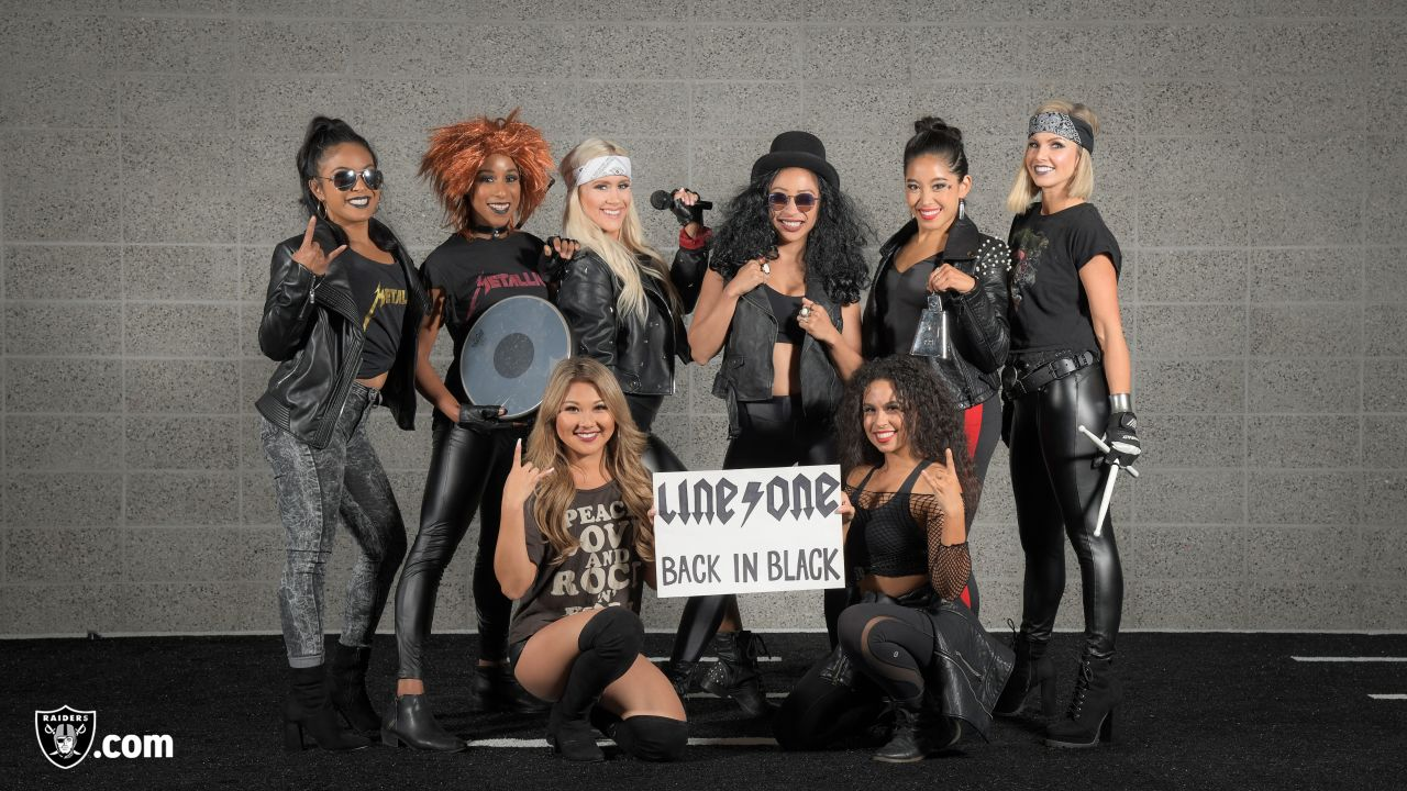 Line one of the Raiderettes in their halloween costumes at The Oakland Raiders Practice Facility, Tuesday, October 30, 2018, in Alameda, California.