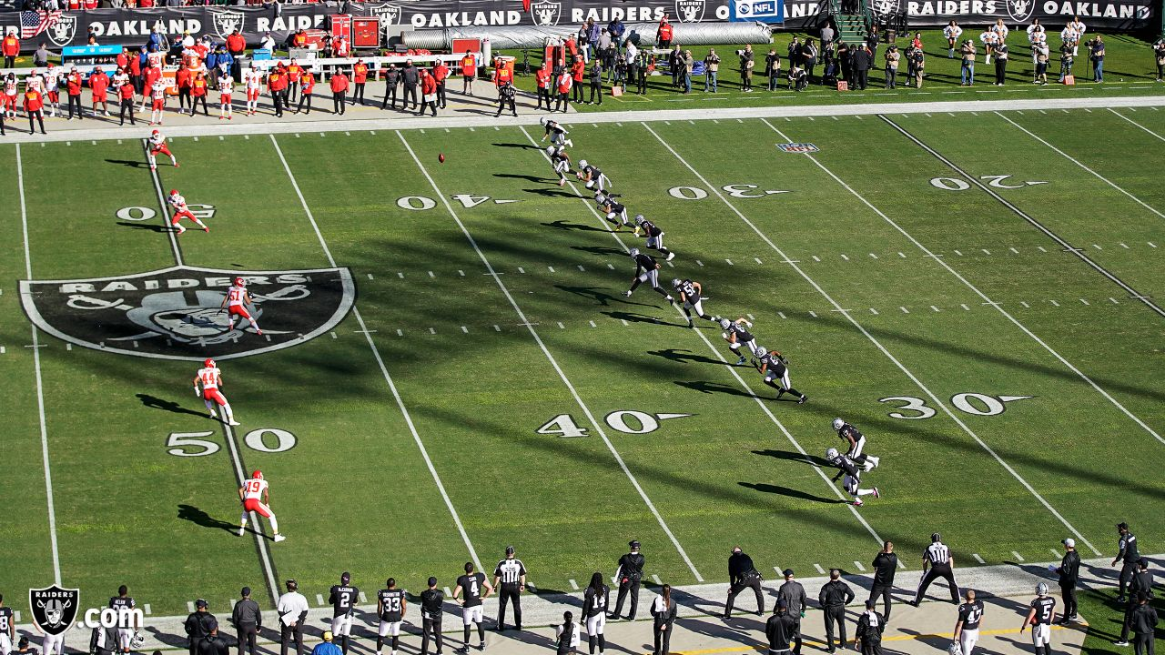 the Oakland Raiders regular season game against the Kansas City Chiefs at Oakland-Alameda County Coliseum, Sunday, December 2, 2018, in Alameda, California. The Oakland Raiders lost 40-33.