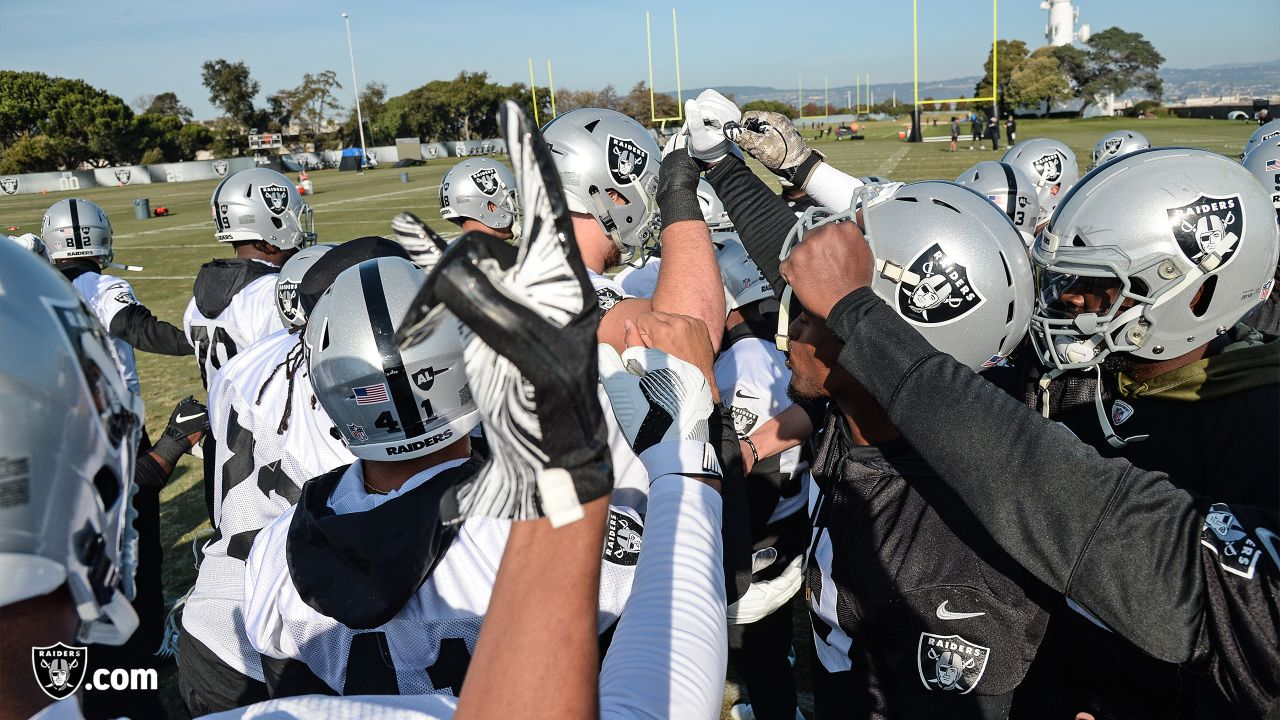 Oakland Raiders players and coaches on the field for practice at the Oakland Raiders Practice Facility, Wednesday, December 12, 2018, in Alameda, California.