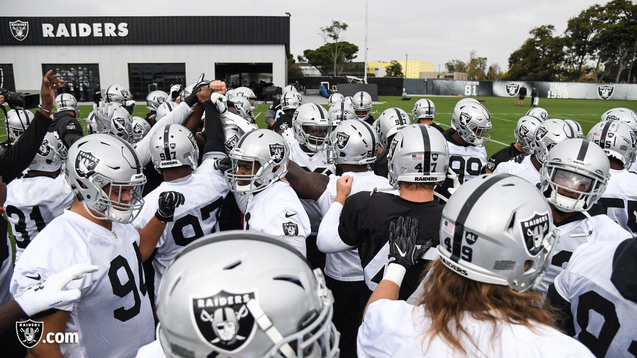 Oakland Raiders players and coaches on the field for practice at the Oakland Raiders Practice Facility, Monday, October 22, 2018, in Alameda, California.